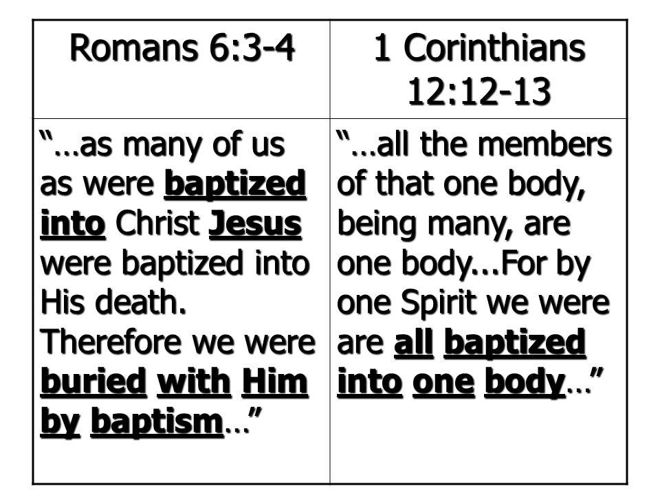 Romans 6:3-4 1 Corinthians 12:12-13