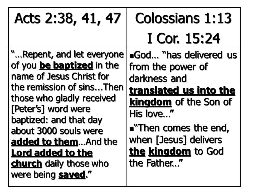 Acts 2:38, 41, 47 Colossians 1:13 I Cor. 15:24