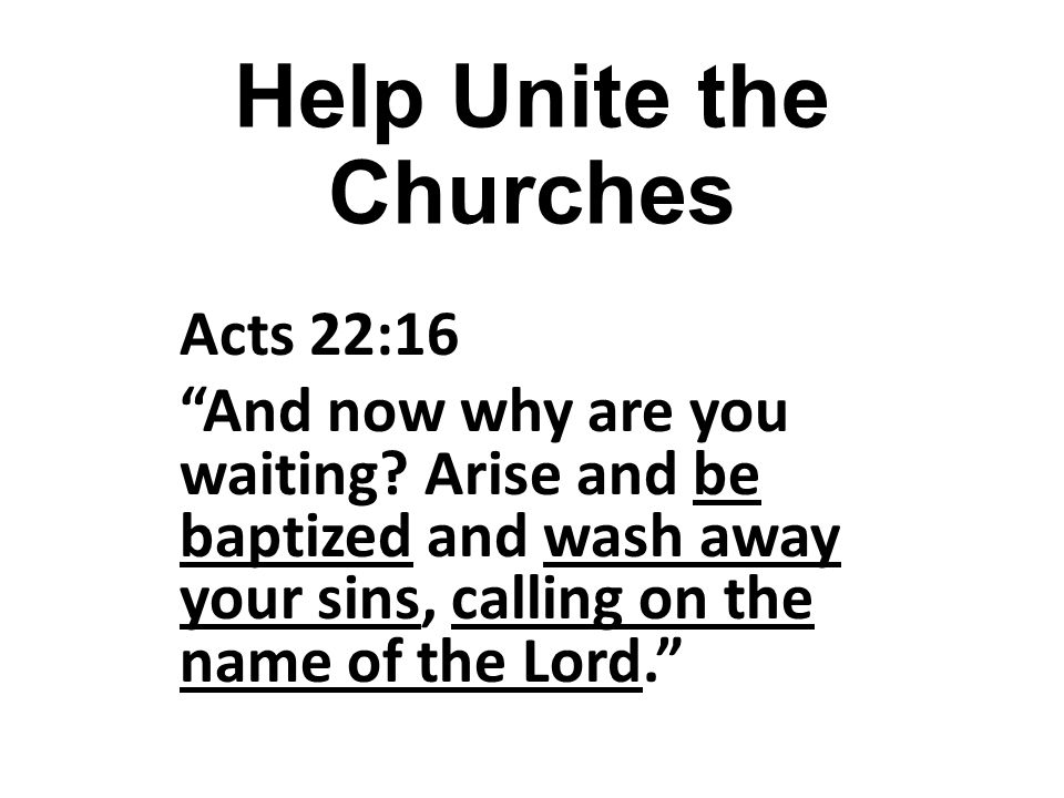 Help Unite the Churches