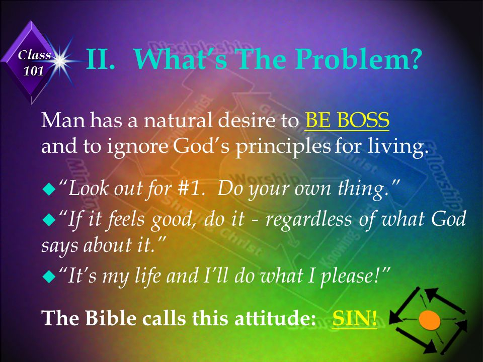 II. What's The Problem Man has a natural desire to BE BOSS and to ignore God's principles for living.