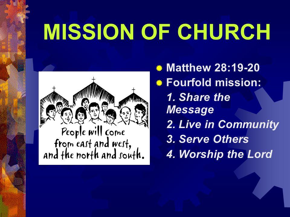 MISSION OF CHURCH Matthew 28:19-20 Fourfold mission: