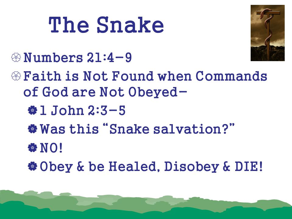 The Snake Numbers 21:4-9. Faith is Not Found when Commands of God are Not Obeyed- 1 John 2:3-5. Was this Snake salvation