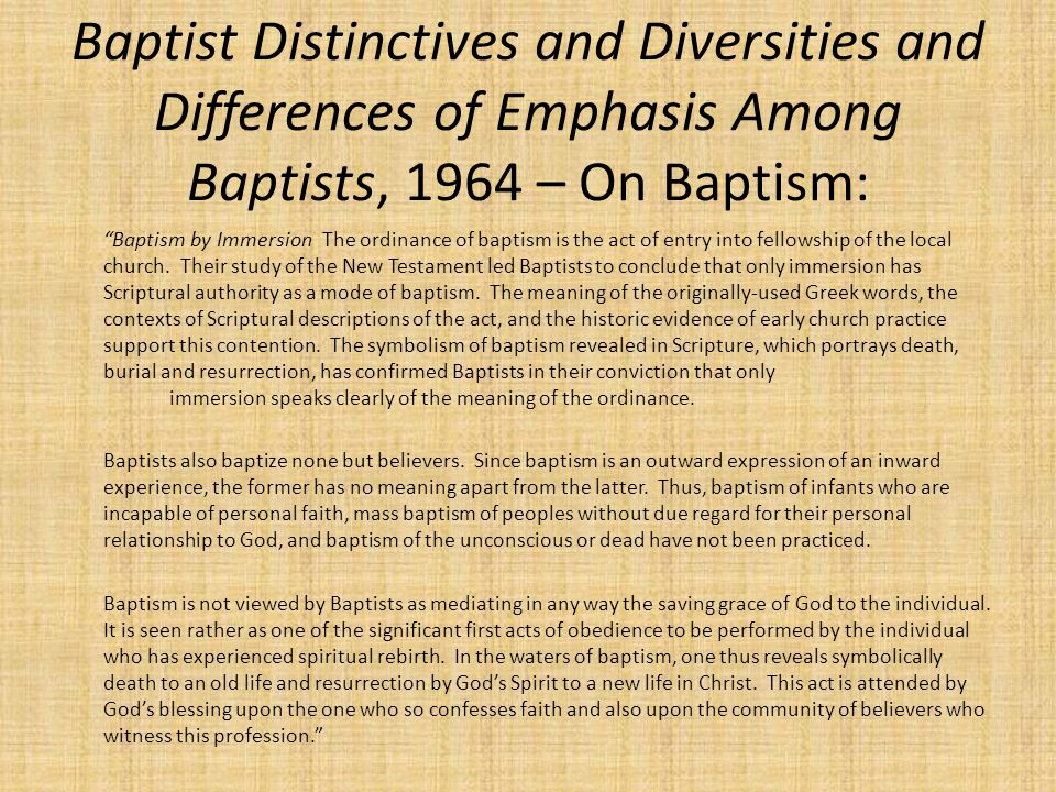 Baptist Distinctives and Diversities and Differences of Emphasis Among Baptists, 1964 – On Baptism: