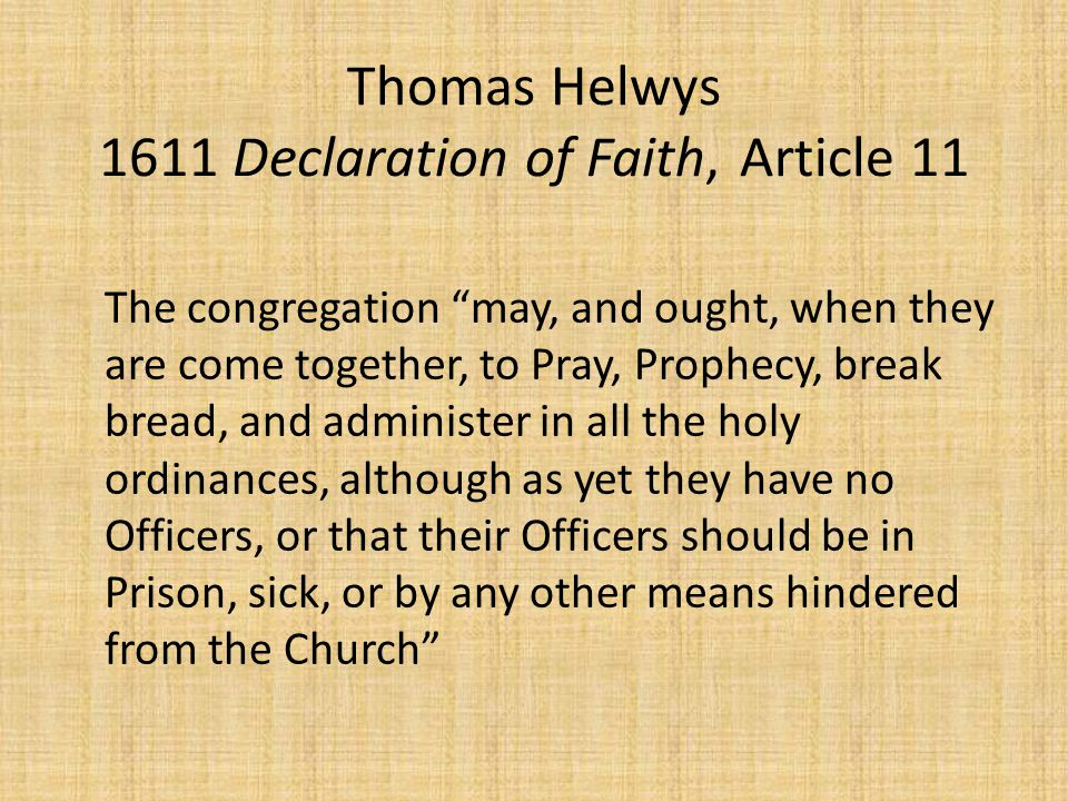Thomas Helwys 1611 Declaration of Faith, Article 11