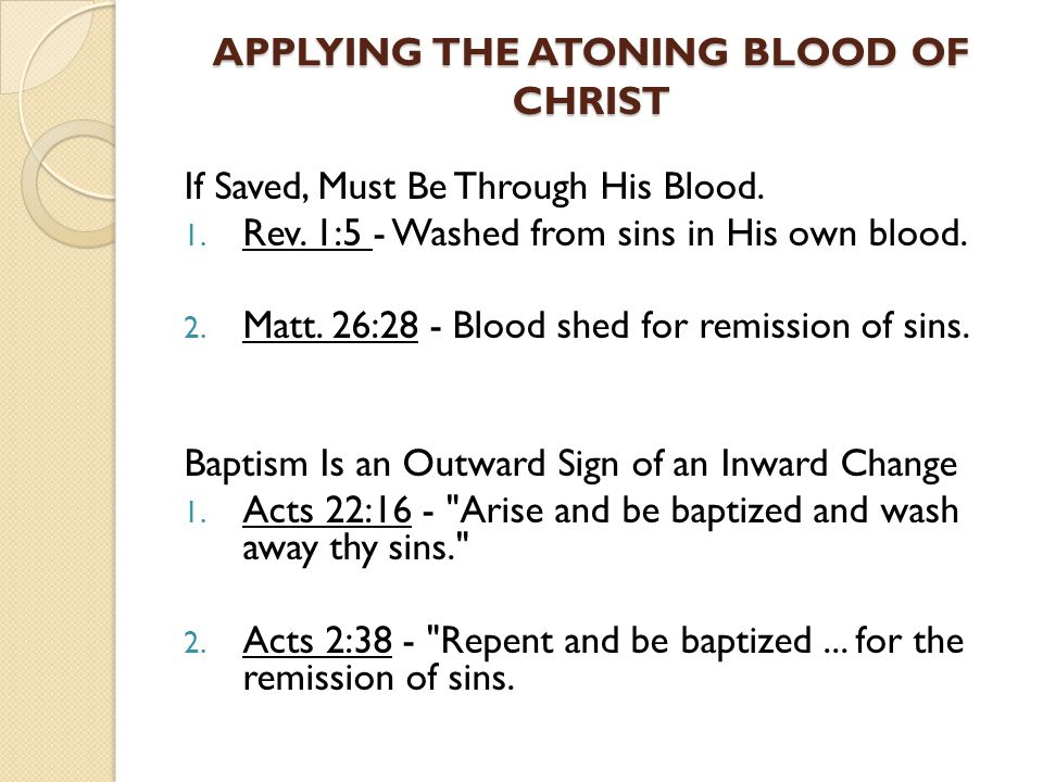 APPLYING THE ATONING BLOOD OF CHRIST