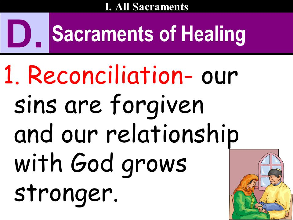 I. All Sacraments D. Sacraments of Healing.