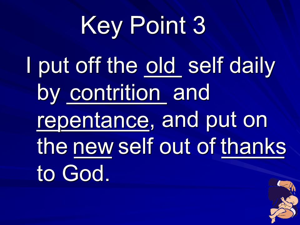 Key Point 3 I put off the ___ self daily by ________ and _________, and put on the ___ self out of _____ to God.