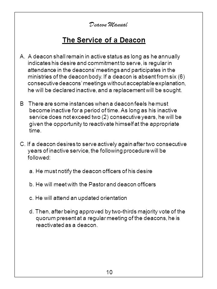 Deacon Manual The Service of a Deacon