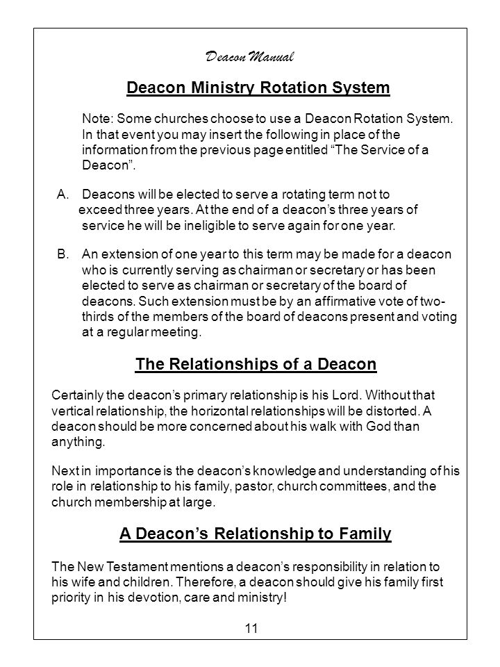 Deacon Ministry Rotation System