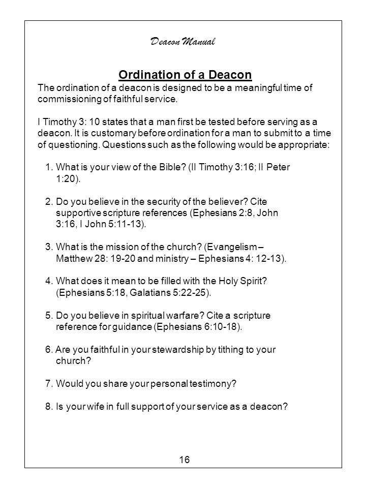 Deacon Manual Ordination of a Deacon