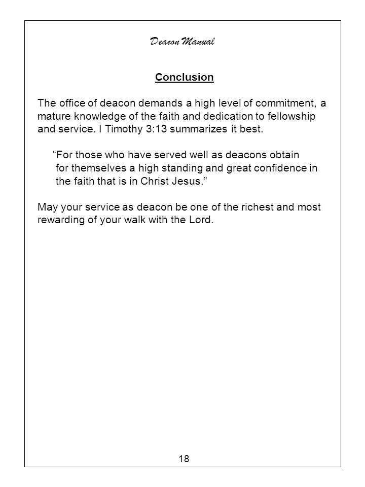 Deacon Manual Conclusion