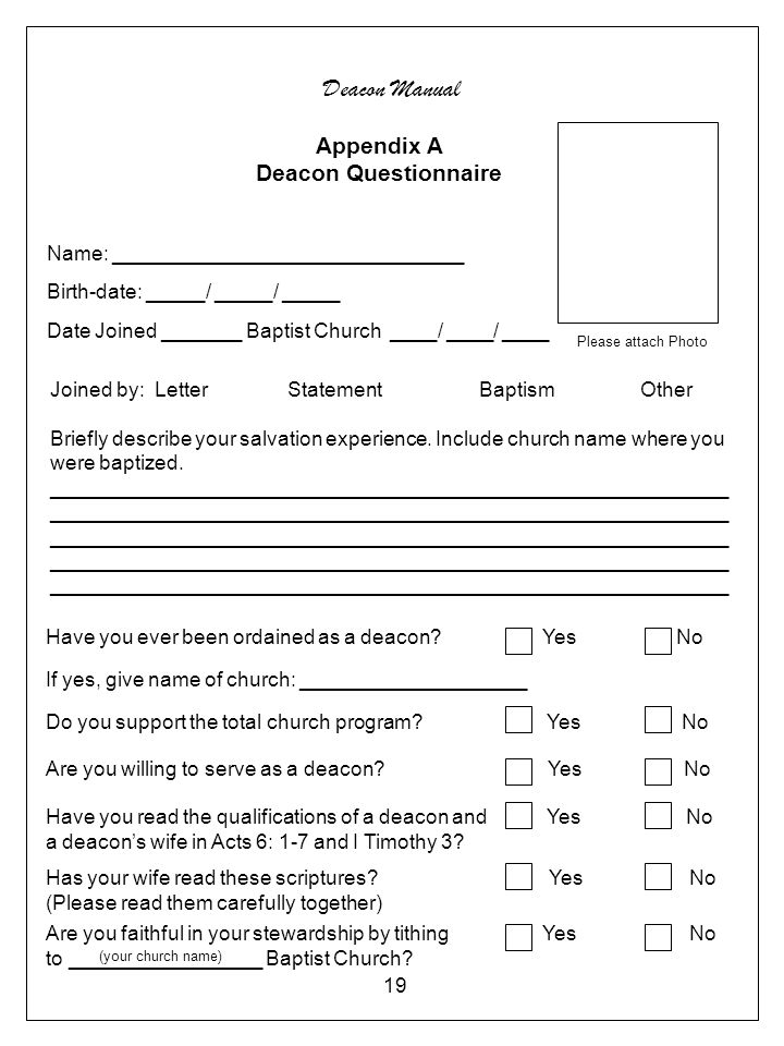 Deacon Manual Appendix A Deacon Questionnaire