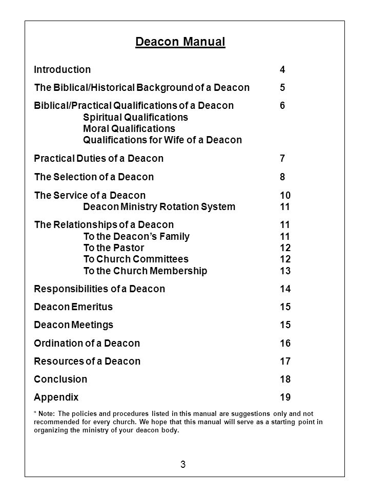 Deacon Manual Introduction 4