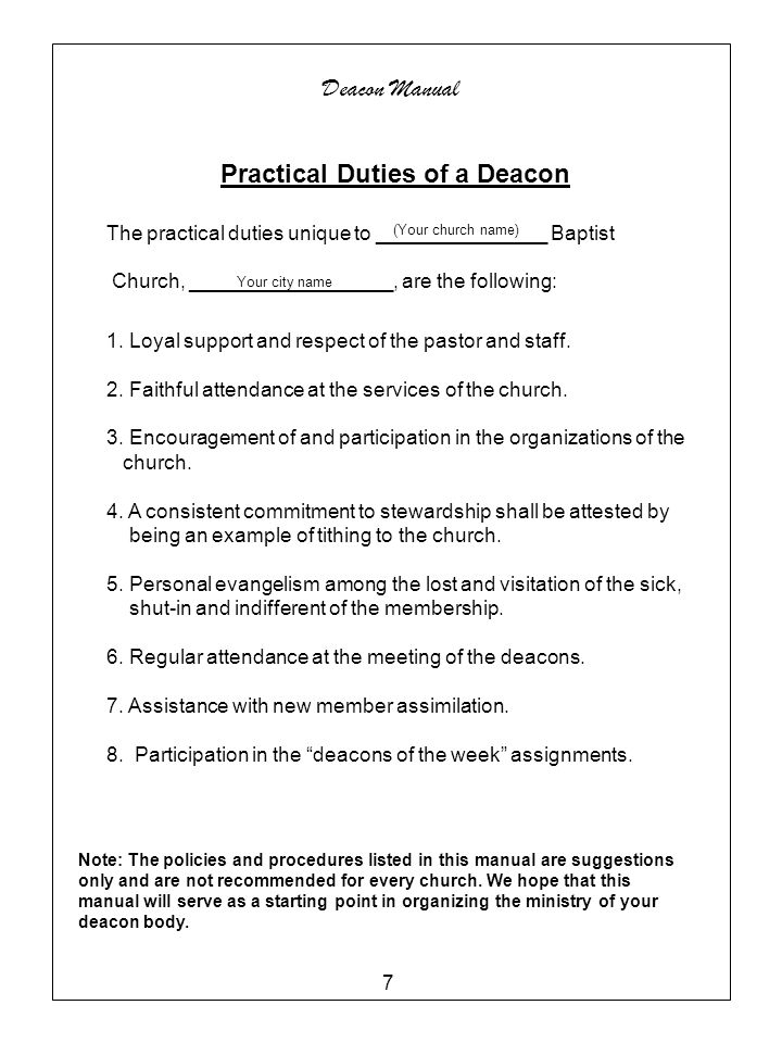 Practical Duties of a Deacon