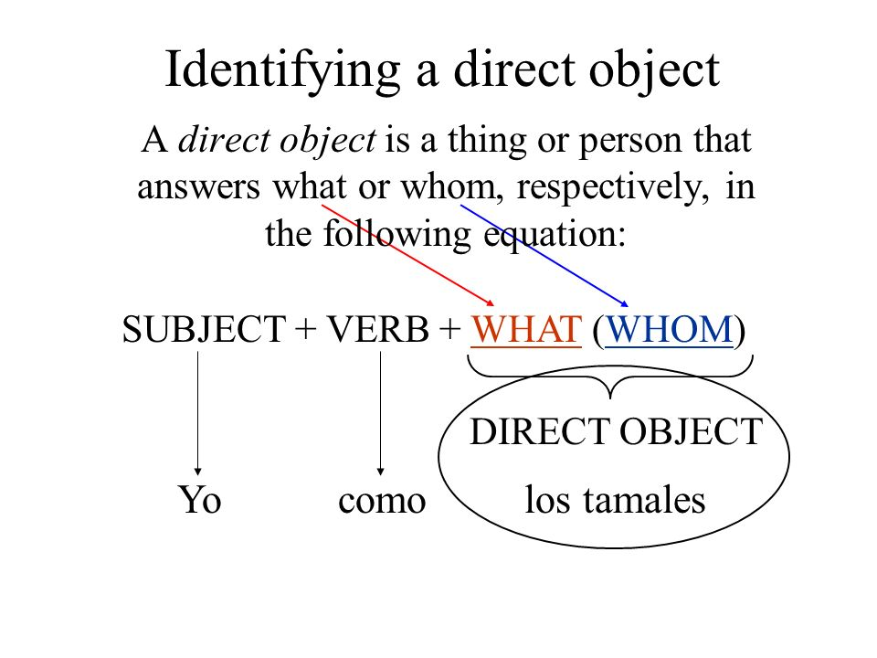 Identifying a direct object