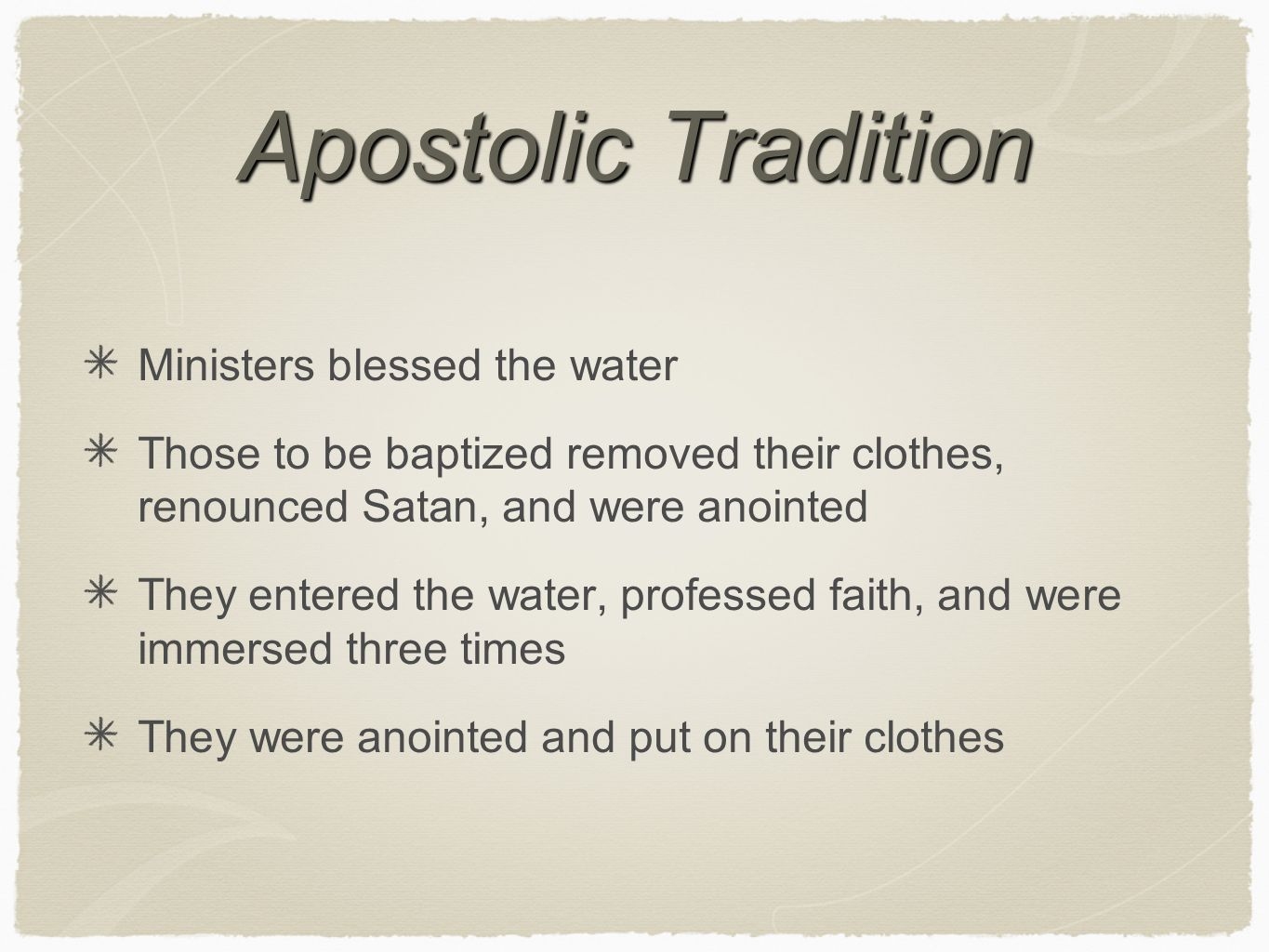 Apostolic Tradition Ministers blessed the water