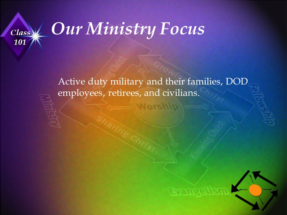 Our Ministry Focus Active duty military and their families, DOD employees, retirees, and civilians.