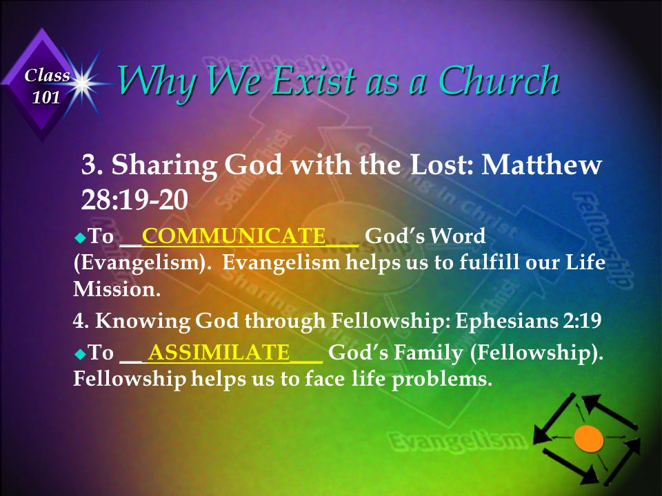 Why We Exist as a Church 3. Sharing God with the Lost: Matthew 28:19-20.