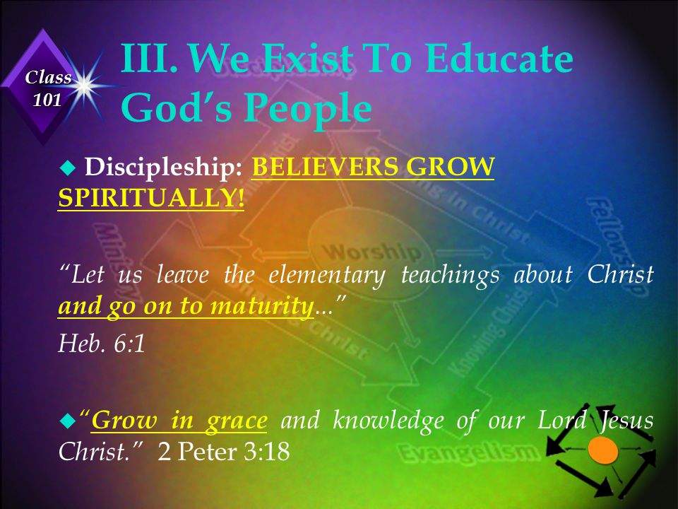 III. We Exist To Educate God's People