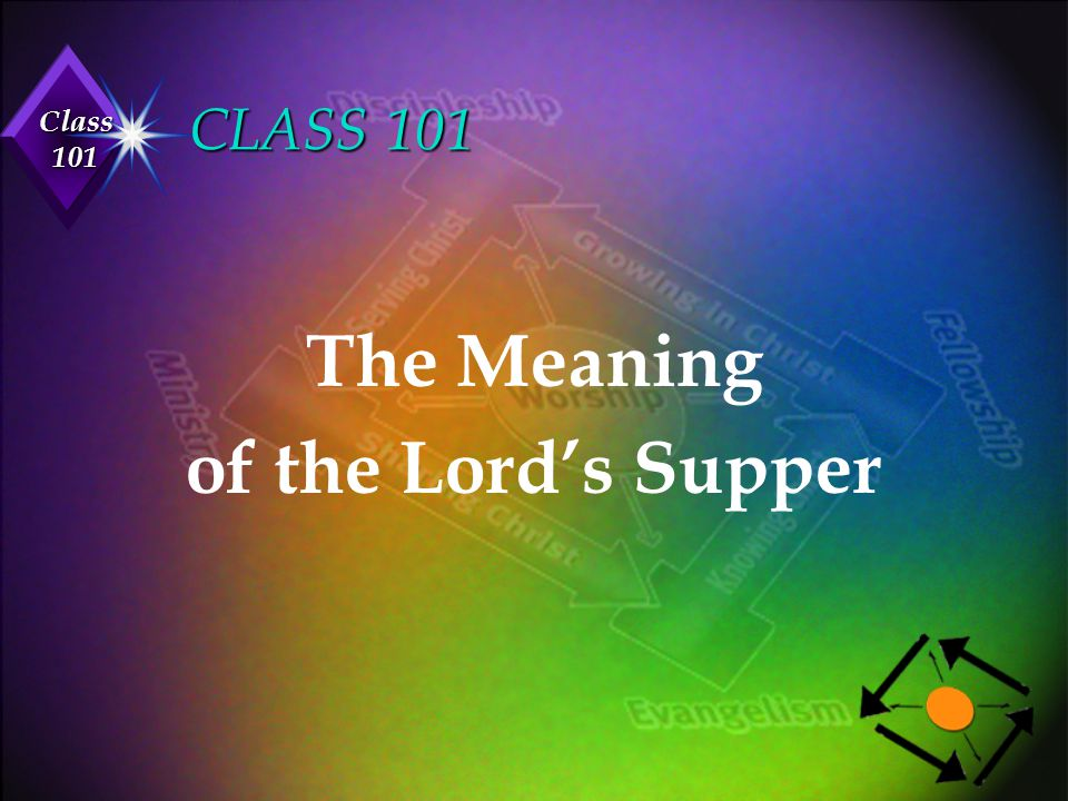 CLASS 101 The Meaning of the Lord's Supper