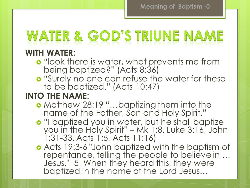 Water & God's Triune Name