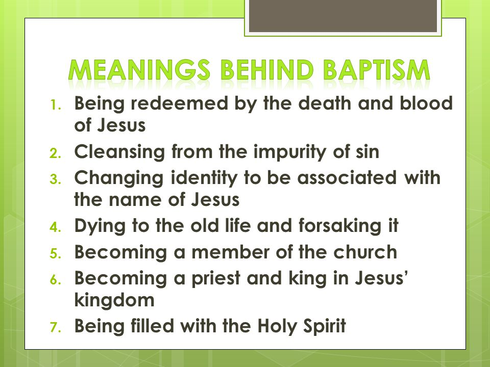 Meanings Behind Baptism