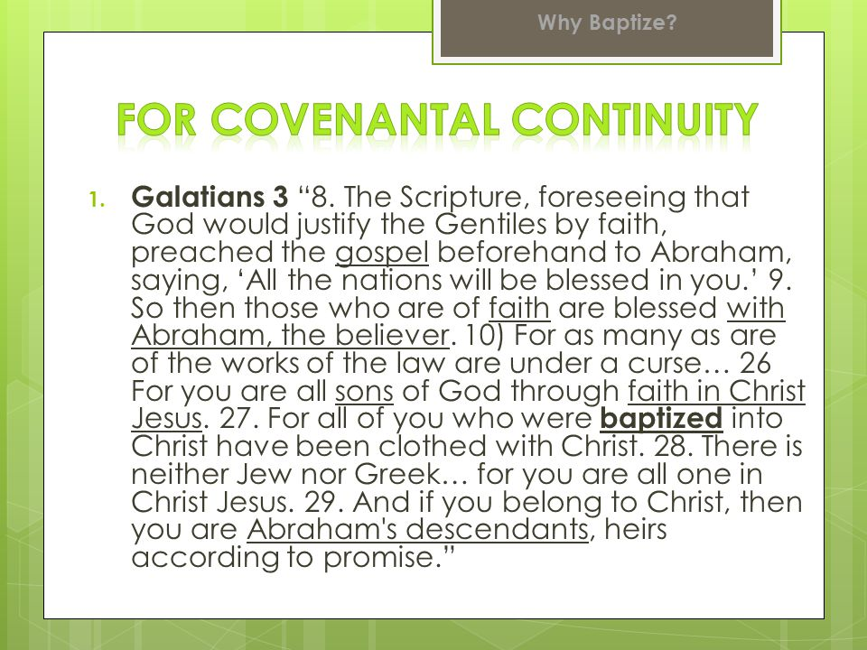 For Covenantal continuity
