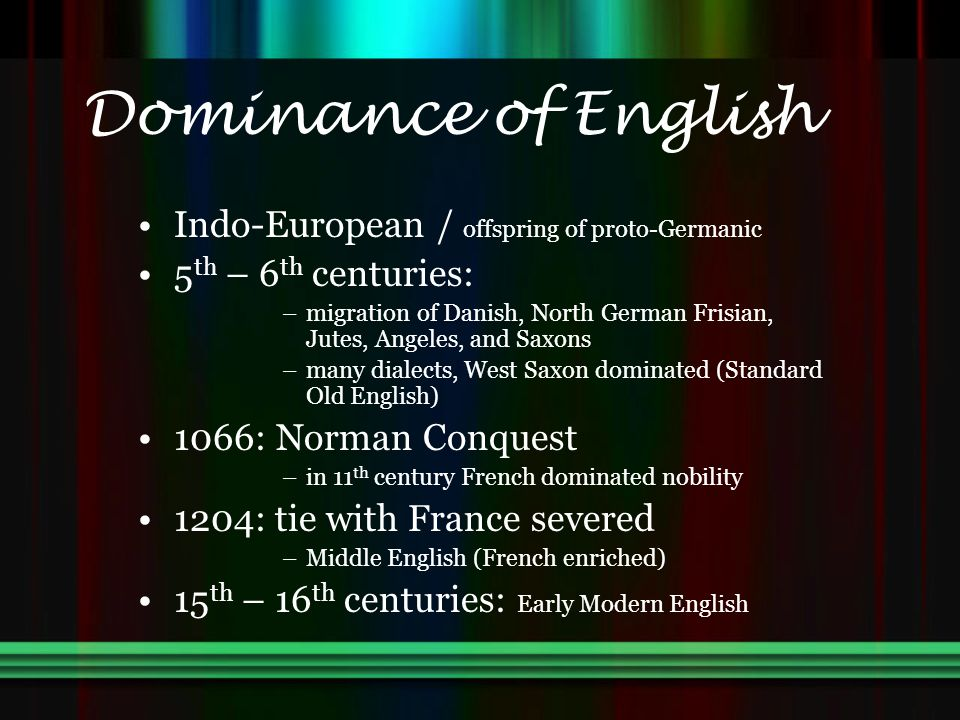Dominance of English Indo-European / offspring of proto-Germanic