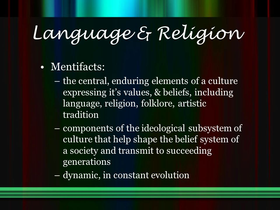 Language & Religion Mentifacts: