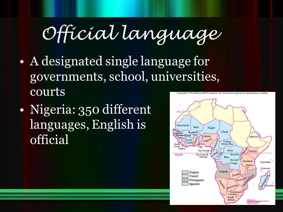 Official language A designated single language for governments, school, universities, courts.