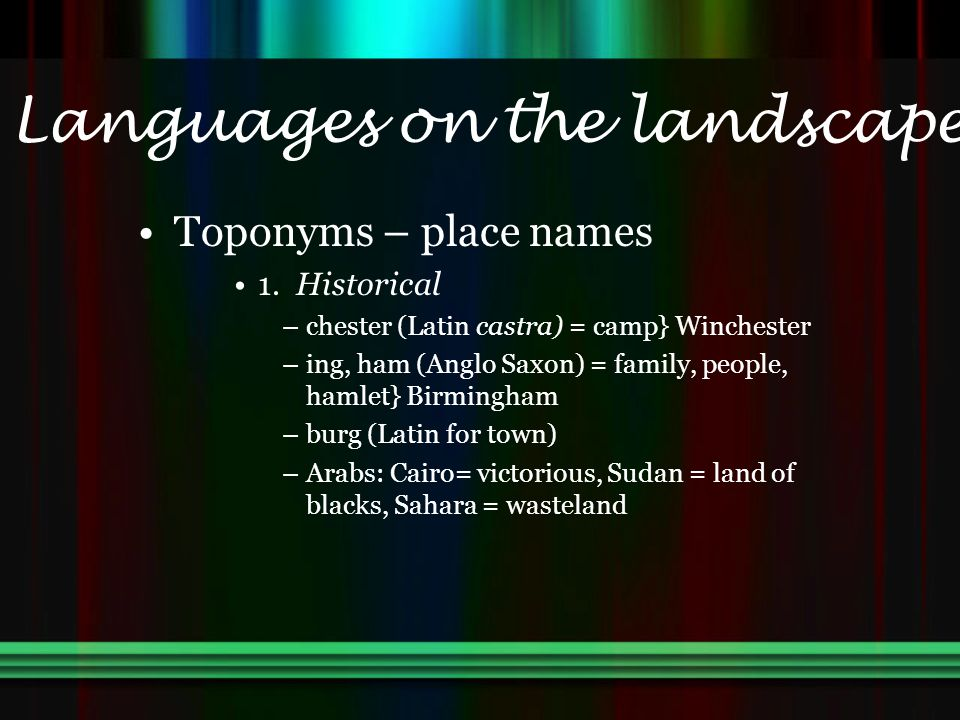 Languages on the landscape