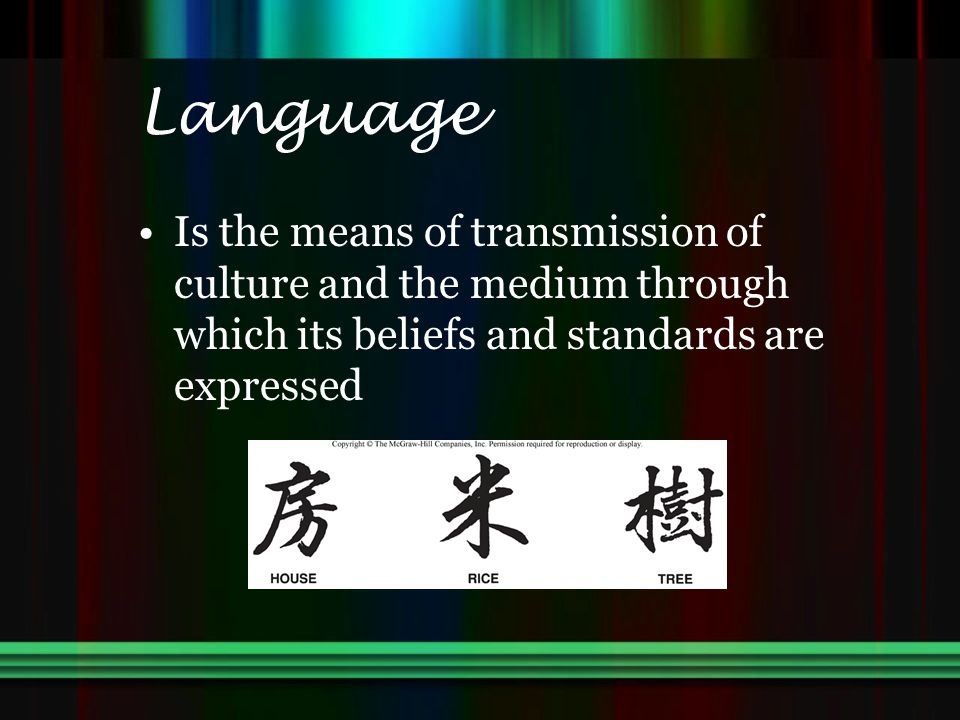 Language Is the means of transmission of culture and the medium through which its beliefs and standards are expressed.