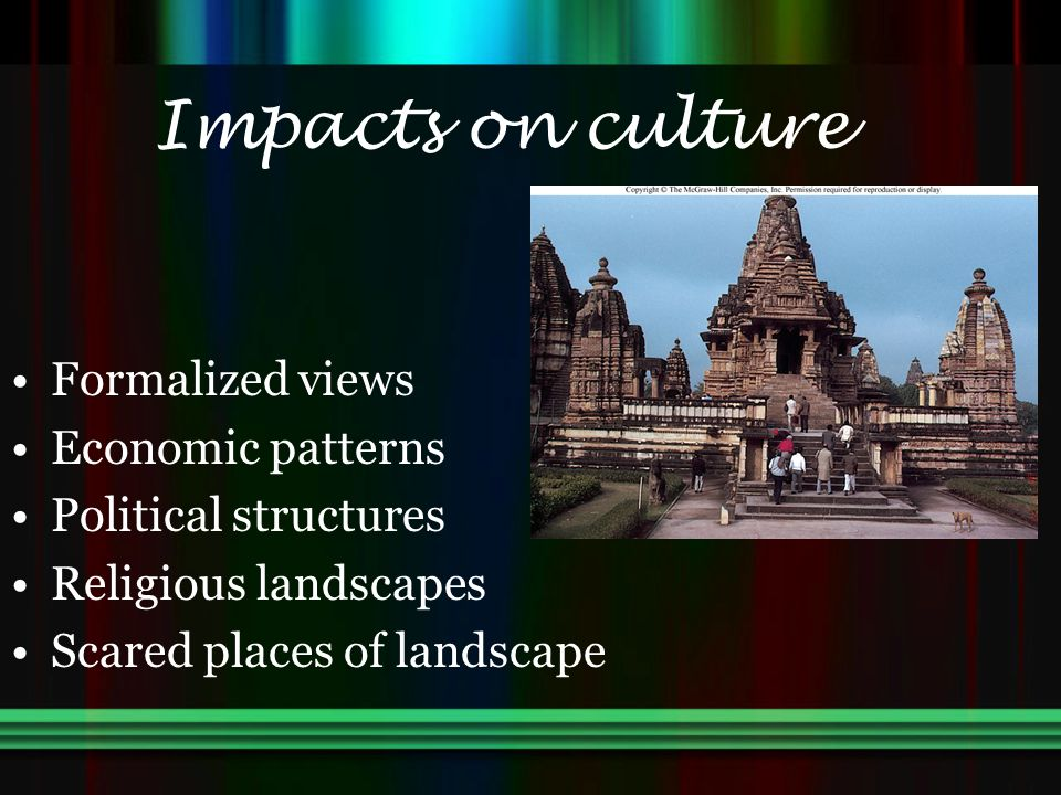 Impacts on culture Formalized views Economic patterns