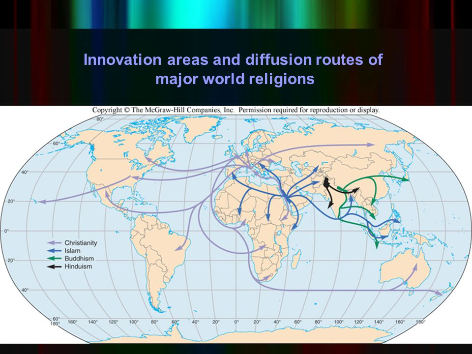 Innovation areas and diffusion routes of