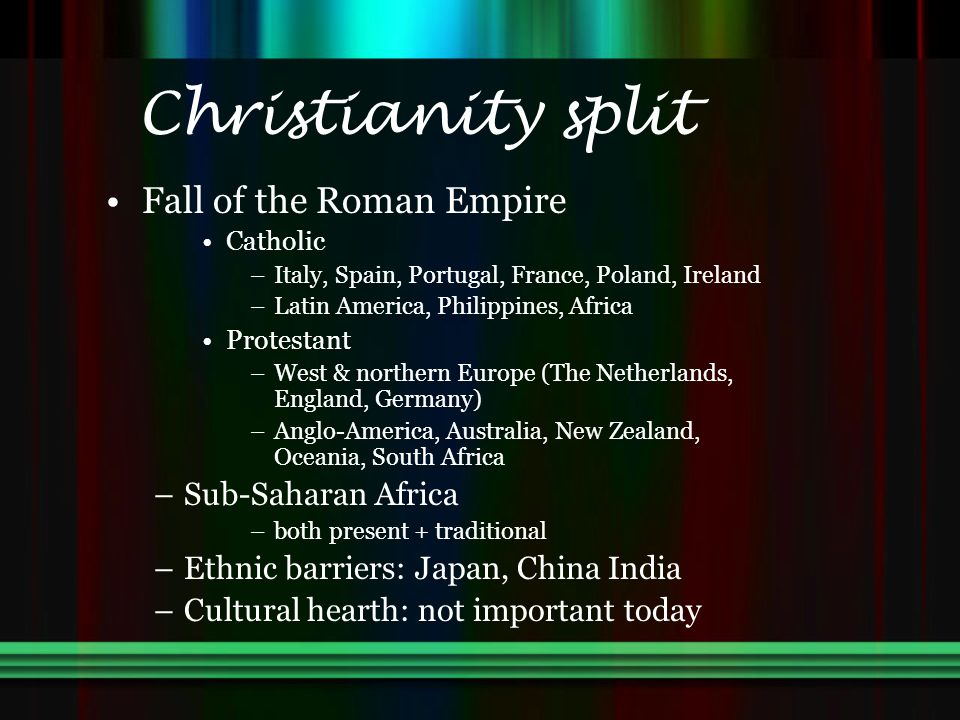 Christianity split Fall of the Roman Empire Sub-Saharan Africa