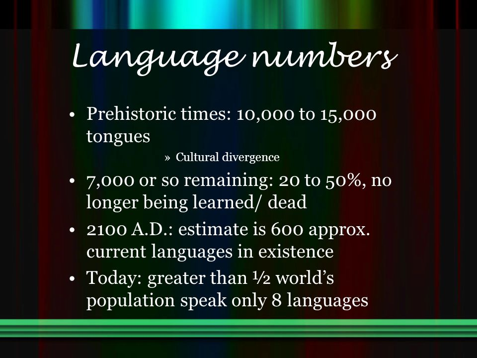 Language numbers Prehistoric times: 10,000 to 15,000 tongues