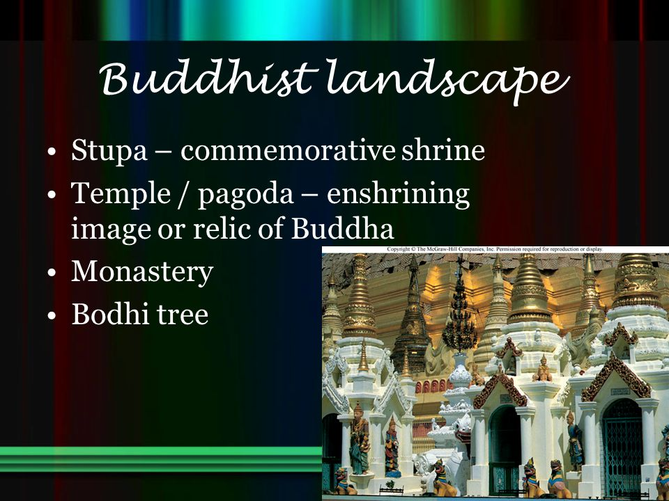Buddhist landscape Stupa – commemorative shrine