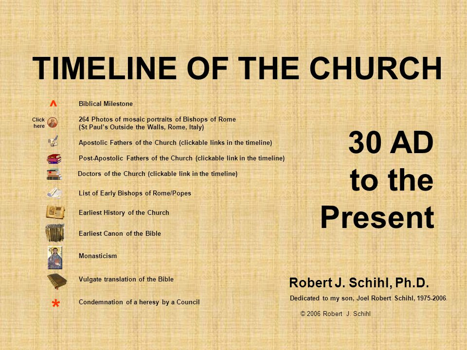 TIMELINE OF THE CHURCH 30 AD to the Present * ^