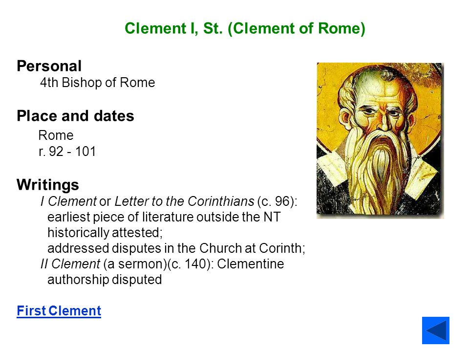 Clement I, St. (Clement of Rome) Personal
