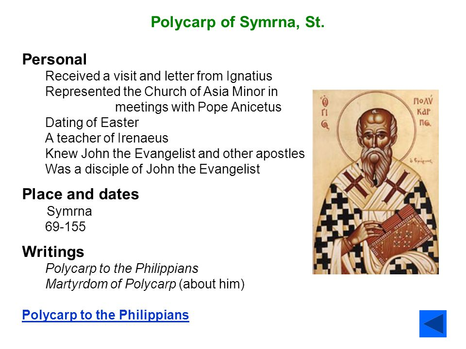 Polycarp of Symrna, St. Personal Place and dates Writings