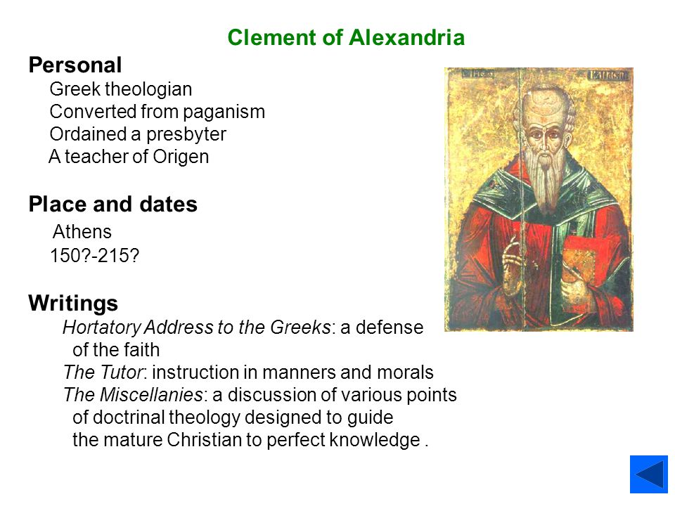 Clement of Alexandria Personal Place and dates Athens Writings