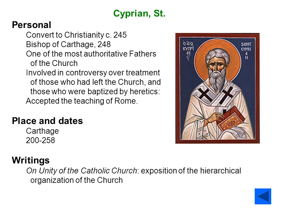 Cyprian, St. Personal Place and dates Writings