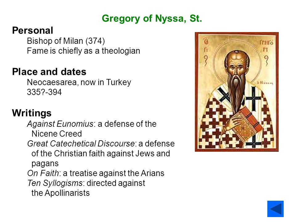 Gregory of Nyssa, St. Personal Place and dates Writings