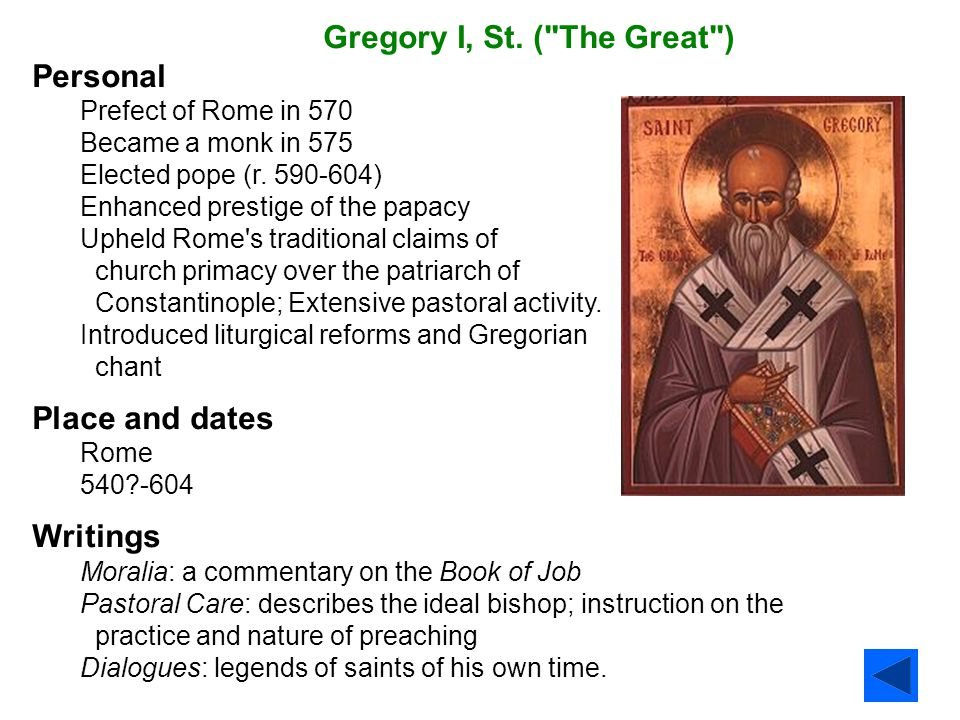 Gregory I, St. ( The Great ) Personal