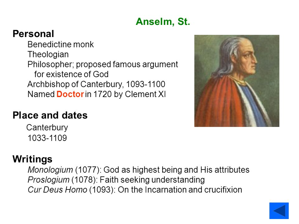 Anselm, St. Personal Place and dates Canterbury Writings
