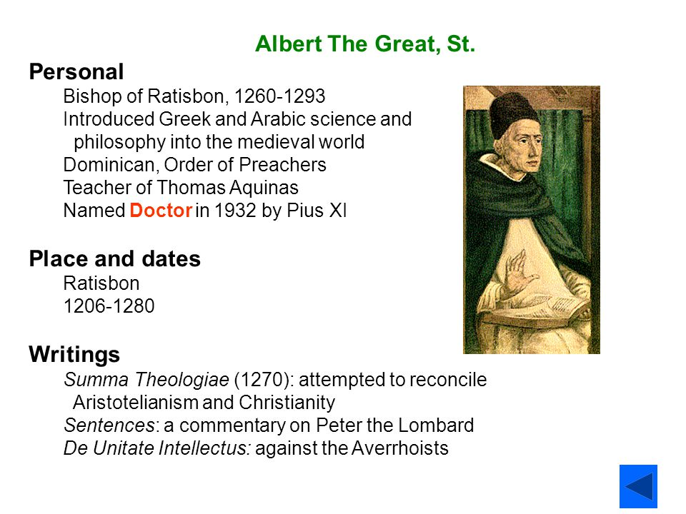 Albert The Great, St. Personal Place and dates Writings