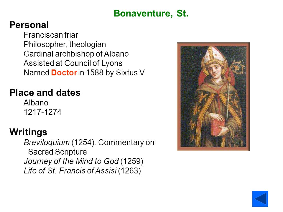Bonaventure, St. Personal Place and dates Writings