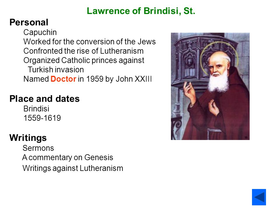 Lawrence of Brindisi, St. Personal