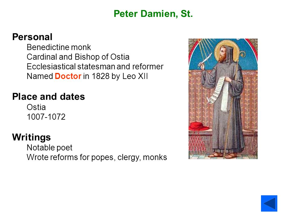 Peter Damien, St. Personal Place and dates Writings
