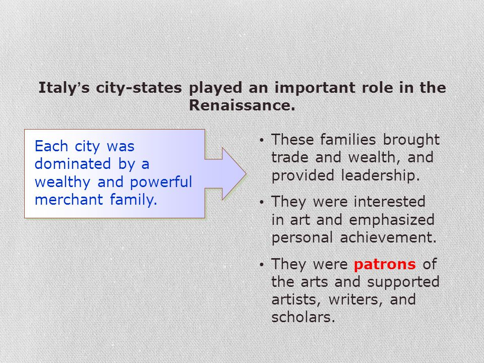 Italy's city-states played an important role in the Renaissance.